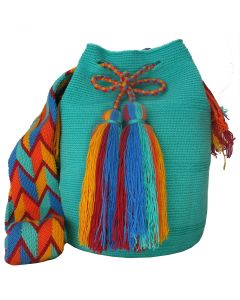 Aquamarine and Blue Large Wayuu Mochila Bag