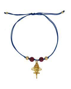 Dull Red Agates and Golden Jet Charm Blue Cord Bracelet