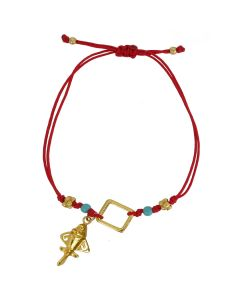 Bohemian Style Neon Red Cord with a Quimbaya Golden Jet Charm and Compressed Turquoises Adjustable Bracelet