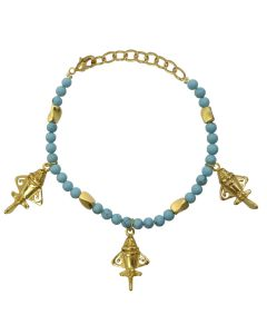 "Compressed Turquoises and Golden Jets 8.3"" Bracelet"
