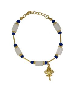 Imperial Blue and  White Crystals with Quimbaya Golden Jet Charm Adjustable Bracelet