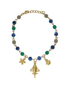 Green, White and Blue Golden Jet Charm Bracelet