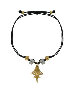 Frozen Square Quartz and Golden Jet Charm Black Cord Bracelet