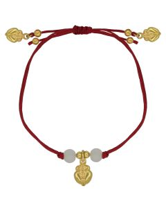 Bohemian Style Red Cord with Frog Charms and Crystals Adjustable Bracelet