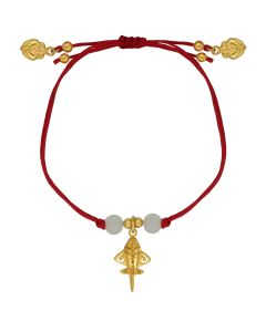 Bohemian Style Red Cord with Quimbaya Golden Jet, Frog Charms and Crystals Adjustable Bracelet