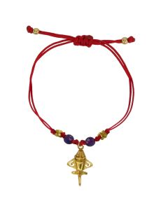Purple Agates Golden Jet Charm Red Cord Bracelet