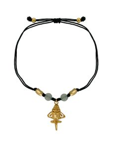 Natural White Jade Golden Jet Charm and Jade Black Cord Bracelet