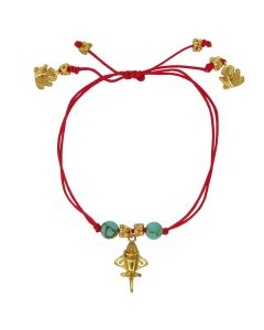 Compressed Turquoises Golden Jet Charm Red Cord Bracelet