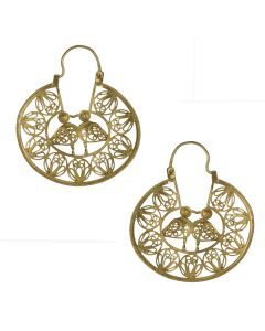 Filigree Handmade 24k GP .950 Silver Medieval Middle Eastern Kissing Birds  Reproduction Hoop Earrings