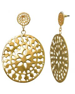 Double Carved Coin Dangle Earrings