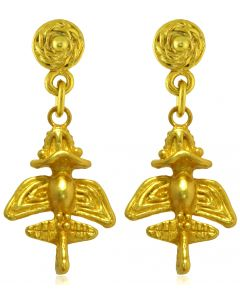 Pre-Columbian Golden Jet-10 / Ancient Aircraft-10 /Golden Flyer-10 Dangle Earrings
