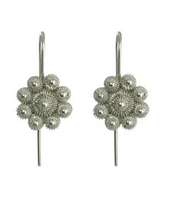 Christiania Filigree Flower .950 Silver Dangle Earrings