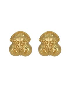Tairona Embossed Frog Stud (S) Earrings by ACROSS THE PUDDLE