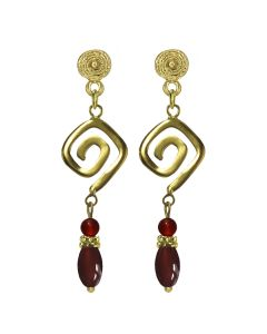 Long Life Square Spiral and Aventurines Dangle Earrings