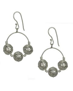 Filigree Handmade .950 Silver Medieval Persian Style Dangle Earrings