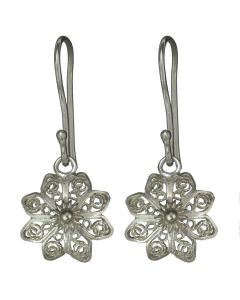 Christiania Filigree Flower Tiara Star .950 Silver Dangle Earrings