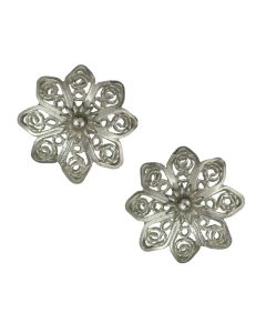 Christiania Filigree Flower Tiara Star .950 Silver Stud Earrings