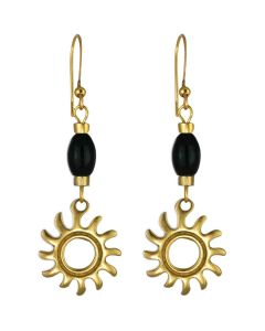 Pre-Columbian Tairona Sun Dangle French Back Earrings by ACROSS THE PUDDLE