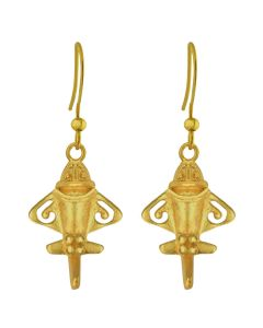 Pre-Columbian Ancient Aliens Aircraft/Golden Jet /Gold Flyer Dangle Earrings by CROSS THE PUDDLE