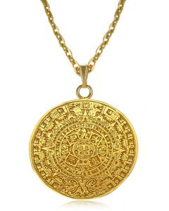 """24k Gold Plated 2"""" Aztec Calendar 4.7 mm Thick 22"""" Cable Chain Necklace"""