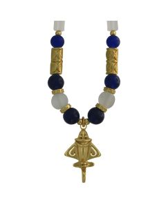Golden Jet Necklace with Imperial Blue and White Crystals Roller Beads