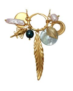 "Golden Jet Charm with Pearls and Feather 22"" Chain Necklace by ACROSS THE PUDDLE"