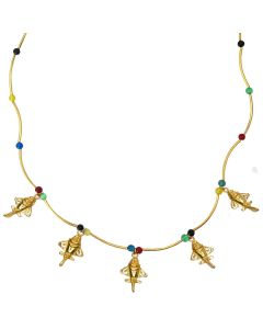 "Golden Jet Charms with Semi-Precious Stones 18"" Chain Necklace"