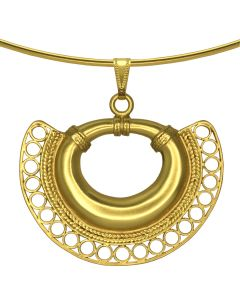 Omega Choker Necklace with Tairona Nose Ring with Circles and Braids