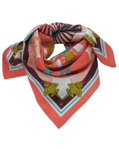 Golden Jet and Nazca Lines Coral Twill Silk Scarf by Across The Puddle